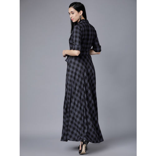 Tokyo Talkies Women Black Checked Maxi Dress