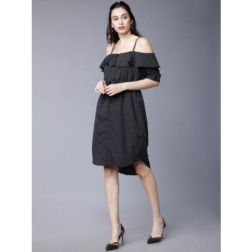 Tokyo Talkies Women Black Printed Blouson Dress