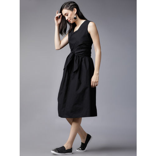 Tokyo Talkies Women Black Solid Fit and Flare Dress