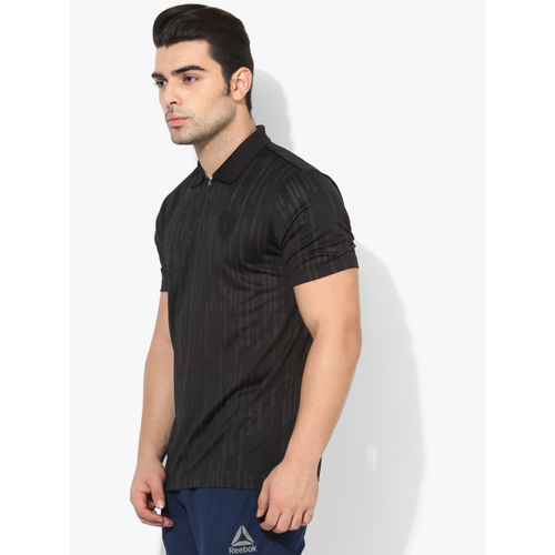 Puma Ferrari Evo Black Striped Regular Fit Polo T-Shirt