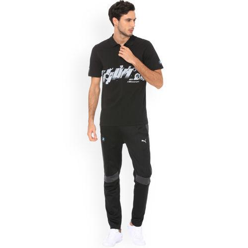 Puma Men Black Printed BMW MMS Graphic Polo Collar T-shirt