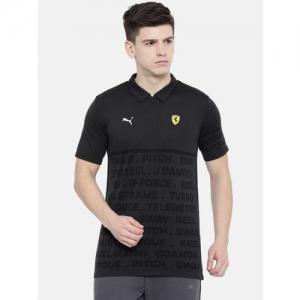 edbc5e38 Buy Puma Men Black Self-Design Scuderia Ferrari EVO Polo T-shirt ...