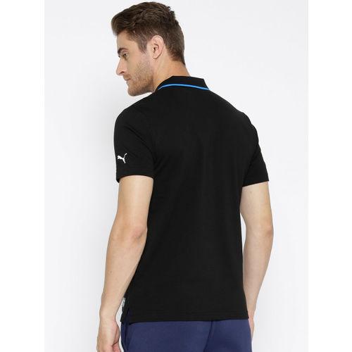 Puma Men Black Solid MAPM Polo Collar T-shirt