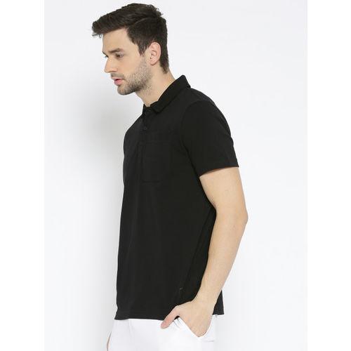 Puma Men Black Solid Polo Collar T-shirt