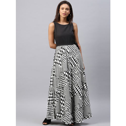 Tokyo Talkies Women Black & White Printed Maxi Dress