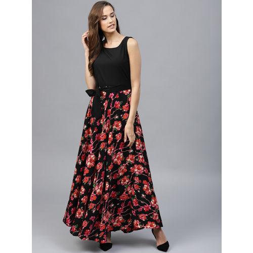 Tokyo Talkies Women Black & Pink Printed Maxi Dress
