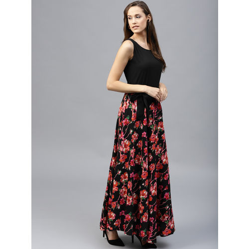 Tokyo Talkies Women Black & Pink Printed Maxi Dress