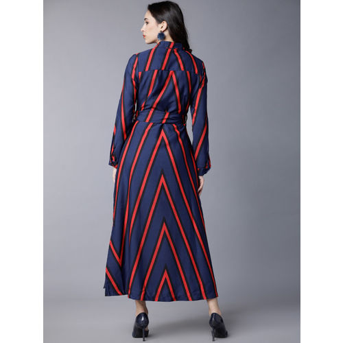 Tokyo Talkies Women Blue Striped Shirt Dress