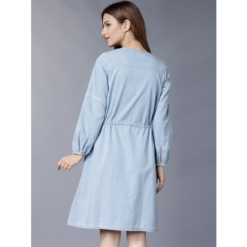 Tokyo Talkies Women Blue Solid Fit and Flare Dress