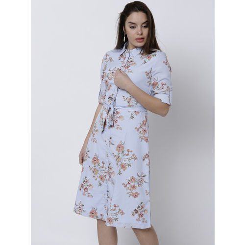 Tokyo Talkies Women Blue Printed Shirt Dress