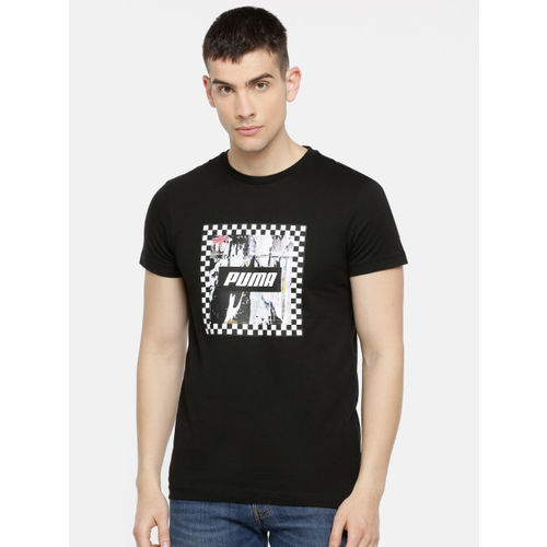 Puma Men Black Printed Check Graphic Slim Fit Round Neck T-shirt