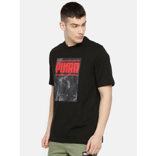 Puma Men Black Printed Camo Pack Logo Round Neck T-shirt
