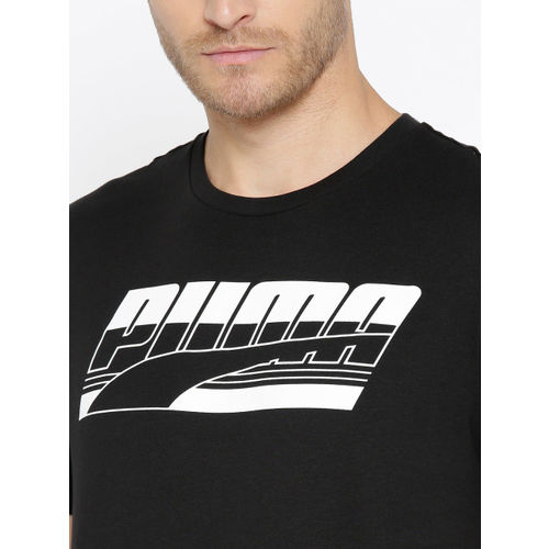 Puma Men Black Rebel Basic Printed Round Neck T-shirt