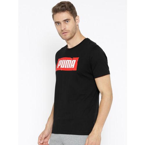 Puma Men Black Solid Wording Round Neck T-shirt
