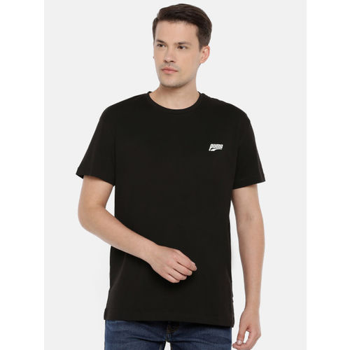 Puma Men Black Relaxed Fit Printed Graphic Multiple Logo Round Neck T-shirt
