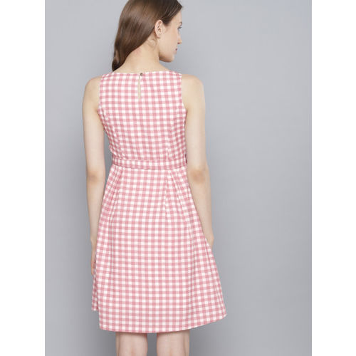 Tokyo Talkies Women White & Pink Checked Fit and Flare Dress