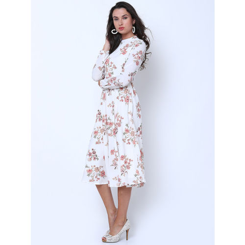 Tokyo Talkies Women White Printed Fit and Flare Dress