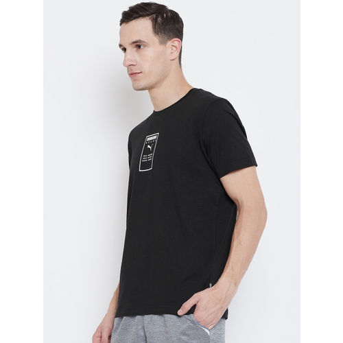 Puma Men Black Printed Round Neck Brand Placed T-shirt