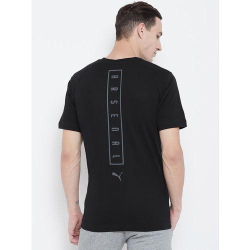 Puma Men Black Solid Round Neck Arsenal FC Fanwear T-shirt