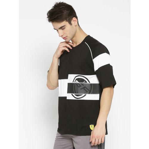 Puma Men Black & White Printed Scuderia Ferrari Street T-shirt