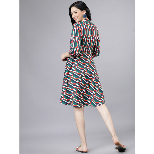 Tokyo Talkies Women Green Printed Fit and Flare Dress