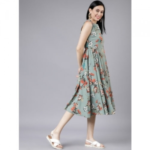 Tokyo Talkies Women Green Floral Printed Fit and Flare Dress