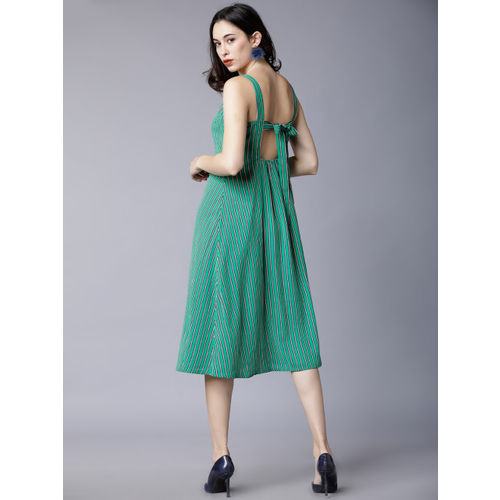 Tokyo Talkies Women Green Striped Fit and Flare Dress