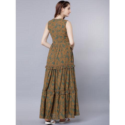 Tokyo Talkies Women Olive Green Printed Maxi Dress