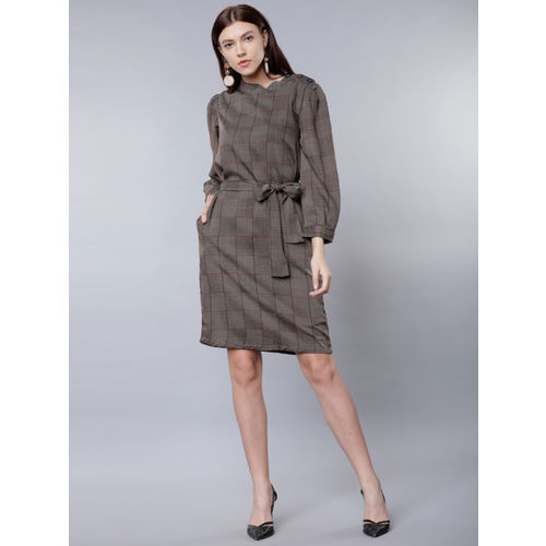 Tokyo Talkies Women Brown Checked A-Line Dress