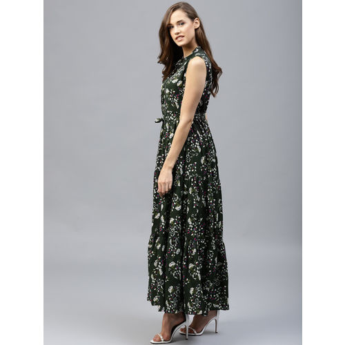 Tokyo Talkies Women Olive Green Printed Maxi Dress