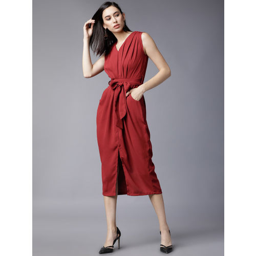 Tokyo Talkies Women Red Solid Sheath Dress