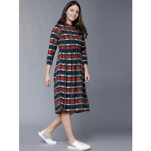 Tokyo Talkies Women Red & Navy Blue Checked Fit and Flare Dress