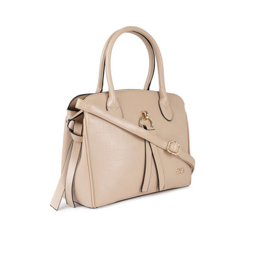 E2O Beige Textured Handheld Bag