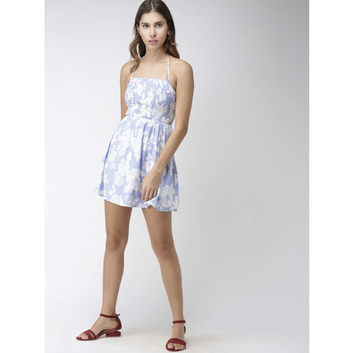 FOREVER 21 Women Blue & White Printed Fit and Flare Dress