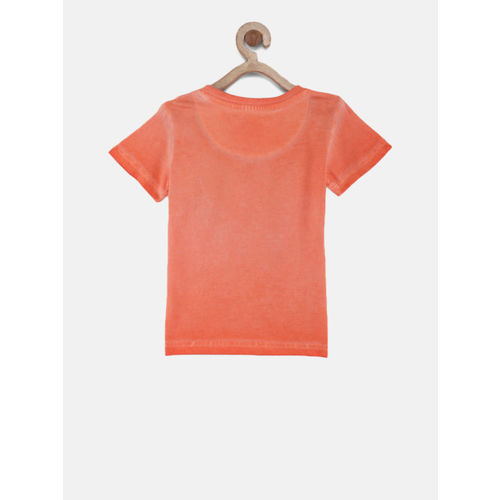Gini and Jony Boys Orange Printed Round Neck T-shirt