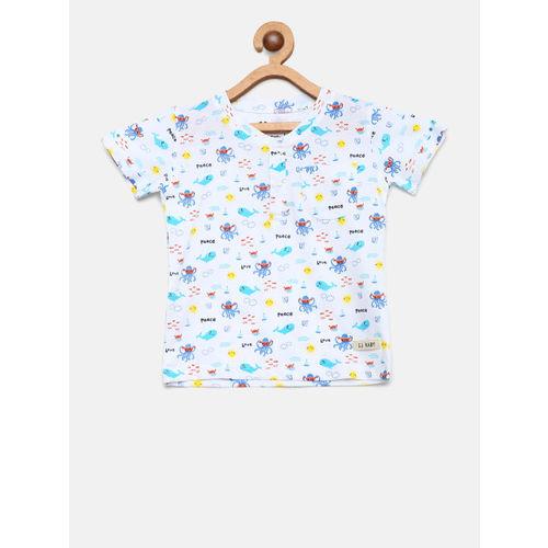 Gini and Jony Boys White & Blue Printed Henley Neck T-shirt