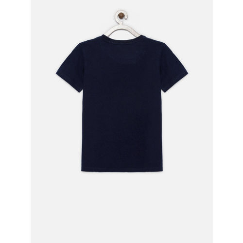 Gini and Jony Boys Blue Printed Round Neck T-shirt