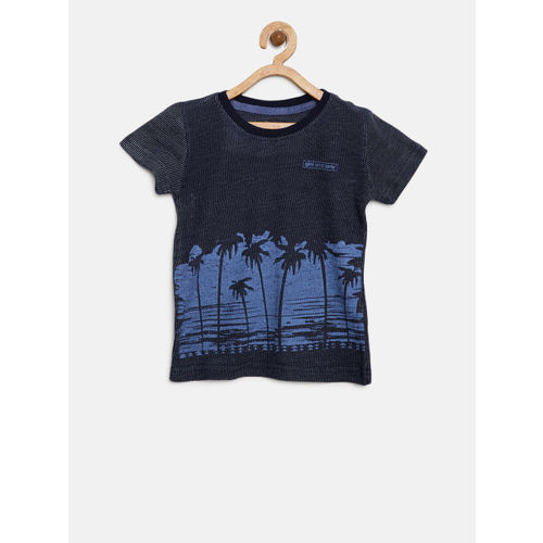 Gini and Jony Boys Navy Blue Self Design Round Neck T-shirt