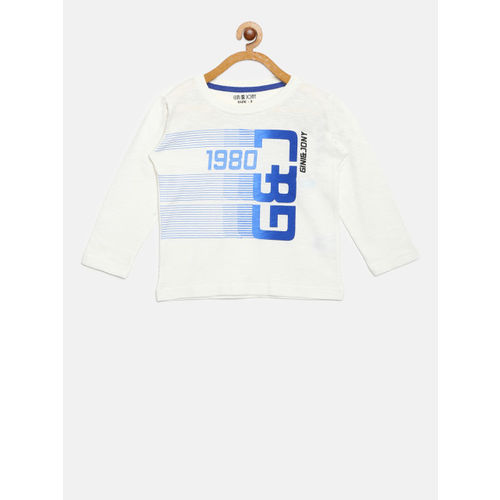 Gini and Jony Boys White Printed Round Neck T-shirt