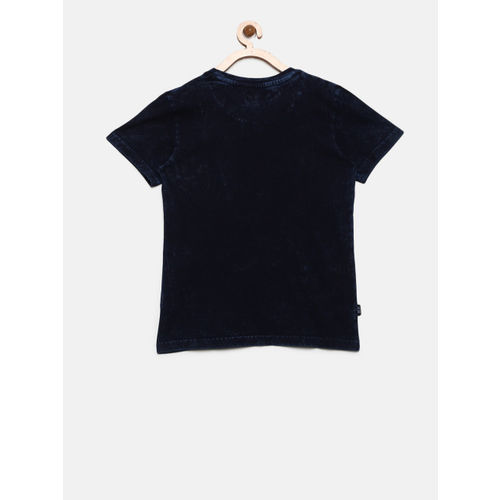 Gini and Jony Boys Navy Blue Printed Round Neck T-shirt with Dyed Effect