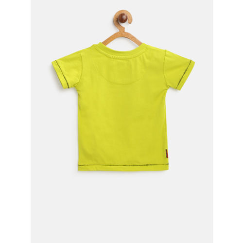 Gini and Jony Boys Lime Green & Black Printed Round Neck T-shirt