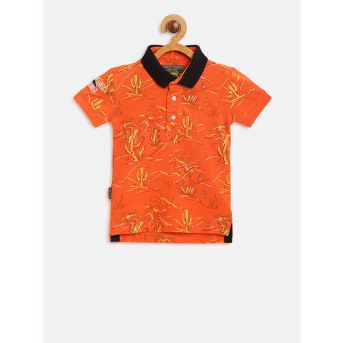 Gini and Jony Boys Orange & Yellow Printed Polo Collar T-shirt