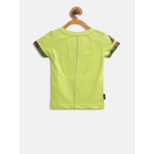 Gini and Jony Boys Green Printed Round Neck T-shirt