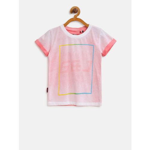 Gini & Jony Kids Pink Printed T-Shirt