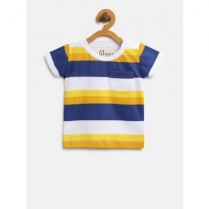 Gini and Jony Boys Yellow & Navy Blue Striped Round Neck T-shirt