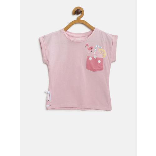 Fox Girls Pink Solid Round Neck T-shirt