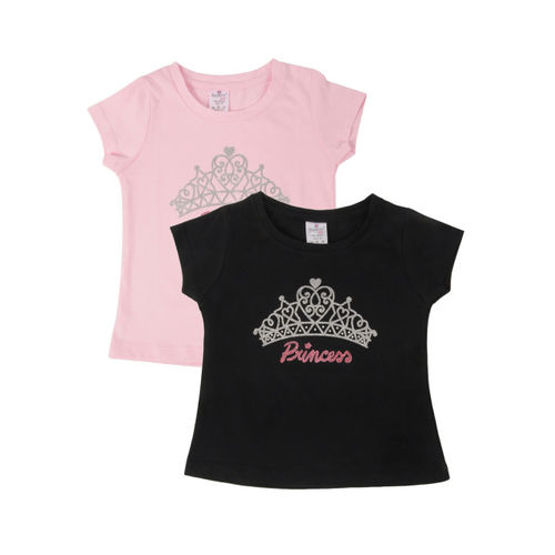 Smarty Girls Pack Of 2 Printed Round Neck T-shirt