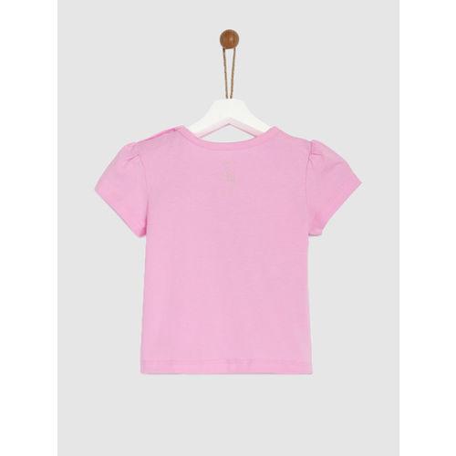 YK Disney Girls Pink Printed Round Neck T-shirt