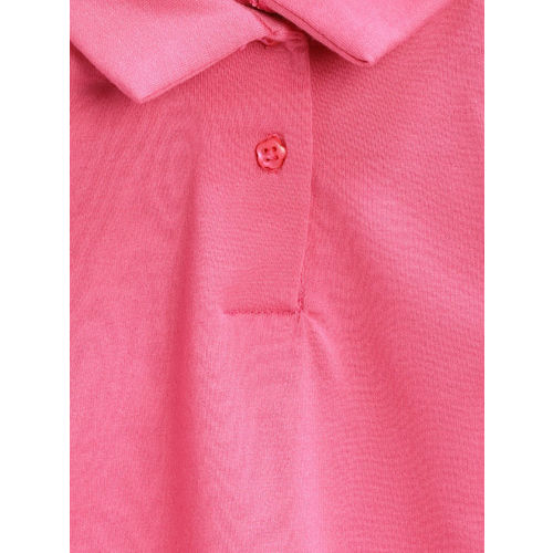 Nauti Nati Girls Pink Solid Polo Collar T-shirt
