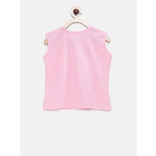 TAMBOURINE Girls Pink Printed Round Neck T-shirt